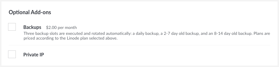 Linode Add-ons - Backups and Private IP