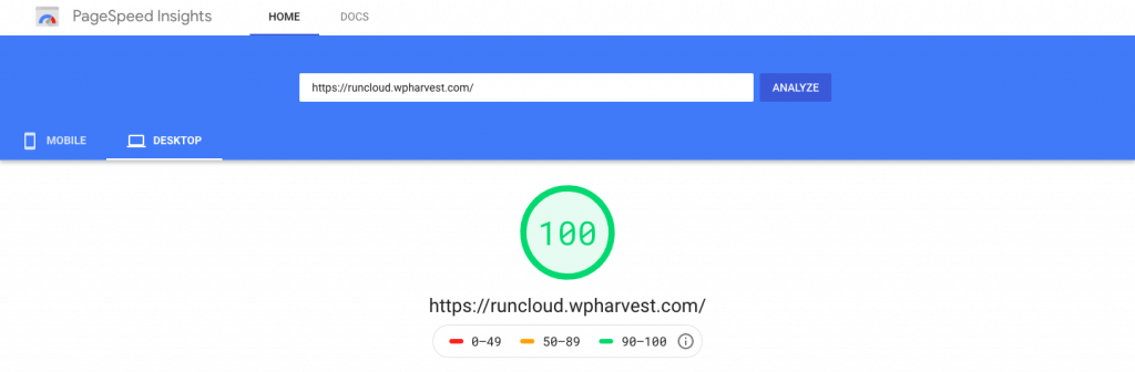 RunCloud on Linode - Google Pagespeed results