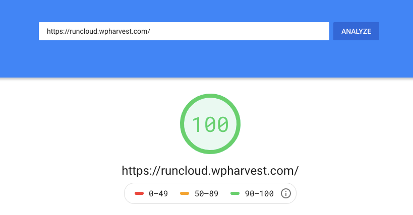 RunCloud on Linode - Google Pagespeed Insights results