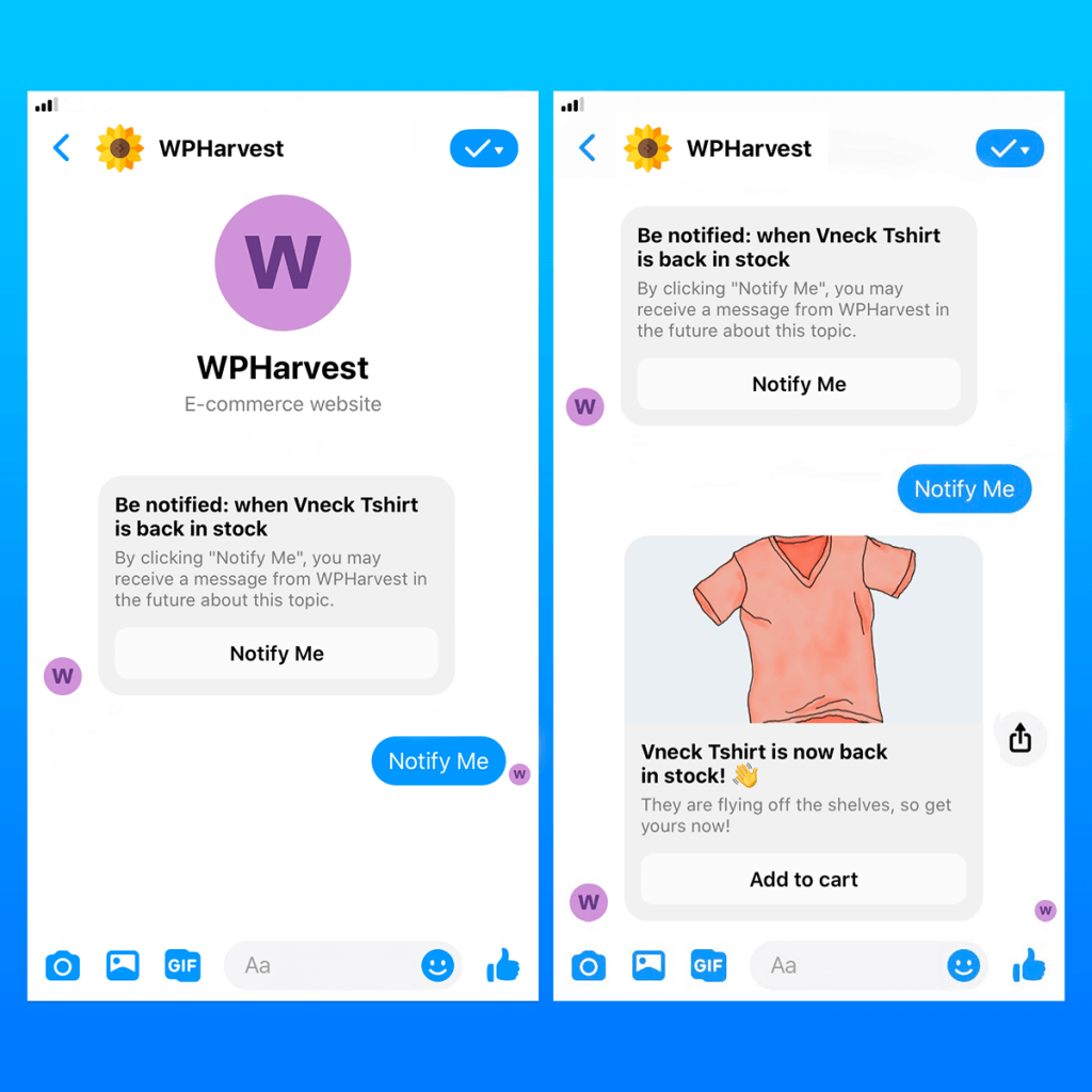 WooCommerce to Messenger back in stock reminder