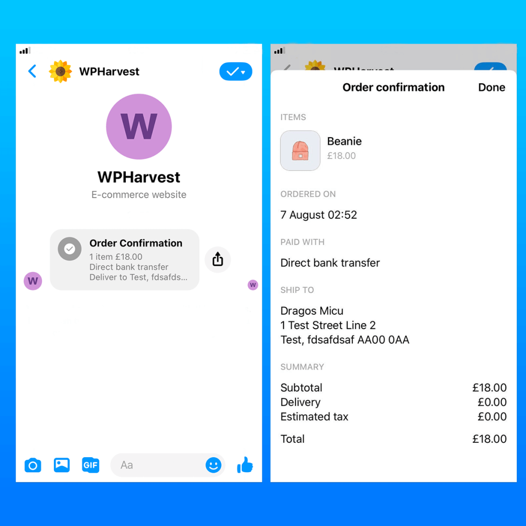 WooCommerce to Messenger receipt notification